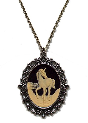 Victorian Vault Unicorn Cameo Steampunk Gothic Pendant Necklace on Chain (Goth Cheshire Cat Costume)