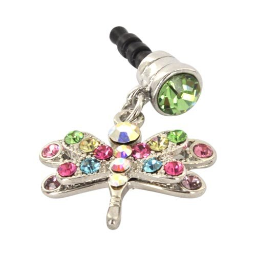 For Apple iPhone 4S 4 Galaxy S Cell Phones and MP3s Silver Dragonfly Multi Colored Gems Universal 3.5mm Headphone Plug Charm, Best Gadgets