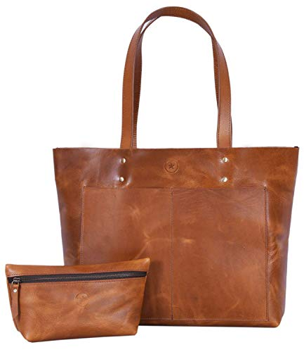 (Leather tote bag for women top handle shoulder bag with leather cosmetic makeup case)