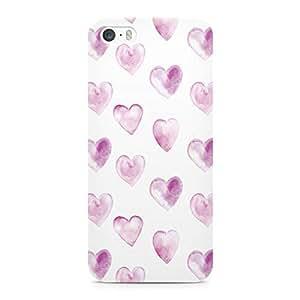 iPhone 5s Case Watercolor Purple Heart Pattern Sleek Low Profile Scratch Resistant Wrap around iPhone 5 Case