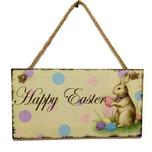 Euone Easter Listing, Wooden Easter Bunny Listings Commemorating Jesus Resurrection Rabbit Pattern Wooden Hanging Plates