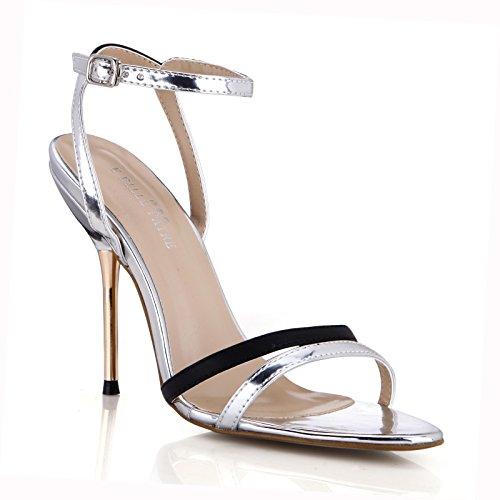 fin l'argent de talon sandales sauvage chaussures Black femmes Ag avec haut noir femmes Nouvelles minimaliste azq0Zxf08