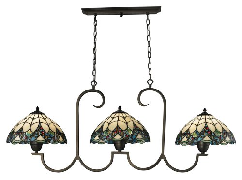 - Elk 70120-3 Gameroom 3-Light Billiard/Island with Stained Glass Shade, 51 by 20-Inch, Tiffany Bronze Finish
