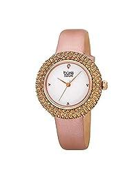 Burgi® BUR227 - Reloj de pulsera con correa de piel acentuada con cristales de Swarovski y diamantes en una bonita caja de regalo, Rose gold