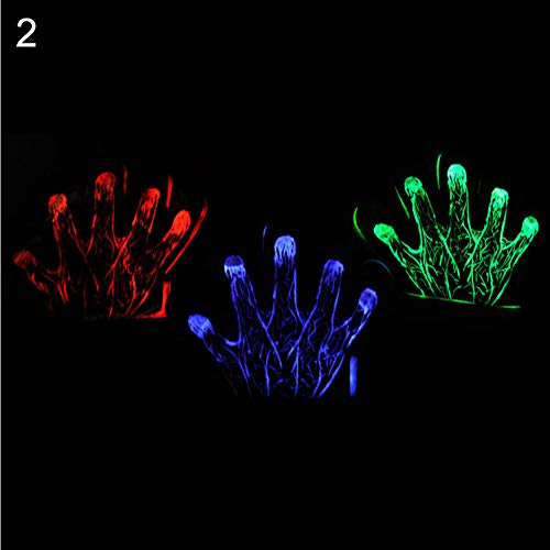 Starlit 1Pc Colorful LED Flashing Skeleton Werewolf Gloves Party Props Joke Prank Toy Random Color 2]()