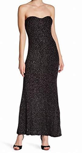 JUMP Junior's Strapless Glitter Slinky Long Prom Dress, Black, 1/2