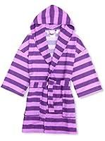 Aegean Apparel Girl's Rugby Stripe Knit Hooded Robe in Purple
