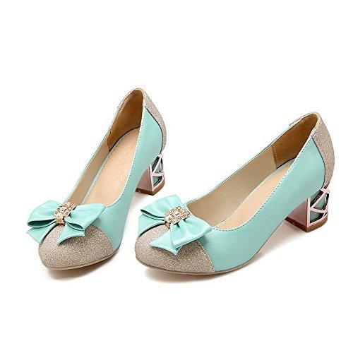 VogueZone009 Damen Ziehen auf Niedriger Absatz Blend-Materialien Eingelegt Pumps Schuhe, Schwarz, 35