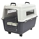Rolling Mobile Premium Plastic Dog Kennel Pets Crate Sturdy Durable Plastic Construction Built-In Handles Removable Locking Wheels Turn-Dial Latching Metal Door IATA Airline Approved For Dogs Up To 50