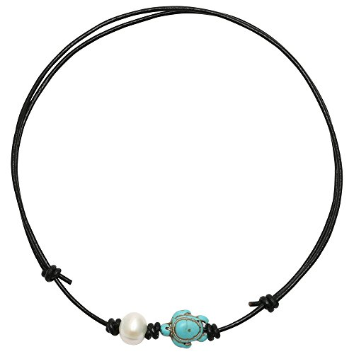 PearlyPearls 18'' Freshwater Cultured Pearl Choker Necklace with Turquoise Turtle on Leather Cord for Women Black