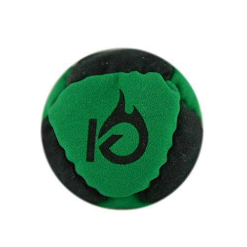 KickFire Classics HotSacks Sand Filled Hacky Sack 8 Panel Leather Footbag with Video Start Tips - Green ()