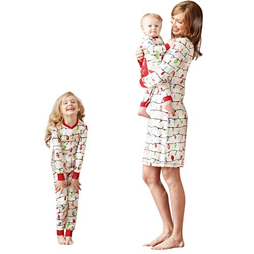 y Girl Colorful T Shirt Tops Pants Family Parent-Child Pajamas Sleepwear Christmas Outfits ()