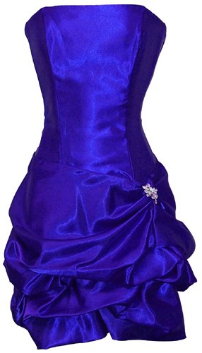 Strapless Satin Bubble Dress Prom Formal Holiday Party Cocktail Gown Bridesmaid, XS, royal