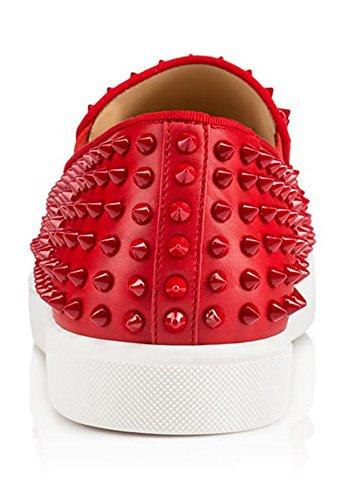 ZXD NigMa - Zapatillas SlipOn Piel Sintética con Tachuelas Pinchos Varios Colores Suela Plana de Goma Rojo