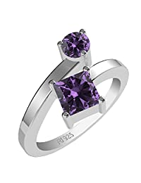 1.25ctw,Genuine Amethyst 5x5mm Square & Solid .925 Sterling Silver Rings