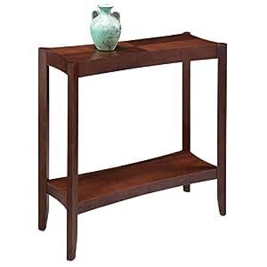Retro modern narrow sofa table console hall stand rectangle wooden cherry brown Retro sofa table