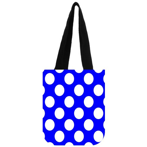 (Casual Polka Dot logo Cotton canvas Market Tote Bag with Two Sides)