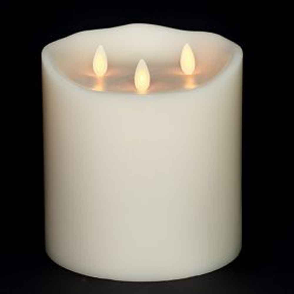 Large Liown Flameless Candle: Tri-flame, 3 Wick, Unscented Moving Flame Candle with Timer (6'' Ivory)