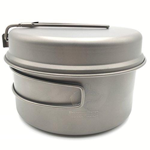 Boundless Voyage 1000ml Leicht Titan Topf und Pfanne Camping Kochgeschirr Utensilien Cookware Outdoor Travel Portable Pot Set 202g
