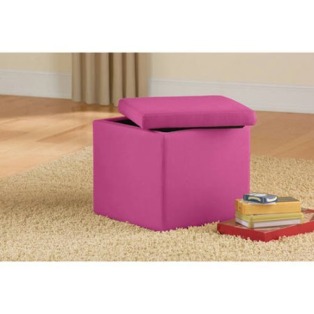 Mainstays Stylish Faux Suede Fabric Ultra Storage Ottoman | Dimensions: 15