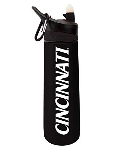 The Fanatic Group University of Cincinnati Dual Walled Stainless Steel Sports Bottle, Design 1 - Black ()