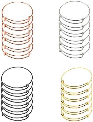 A Djustable Wire Bracelets, 24 PCS Expandable Bangle Charms Bracelets, Adjustable Wire Bracelets, Stainless Steel Blank Bangles for DIY A Djustable Wire Blank Bracelets
