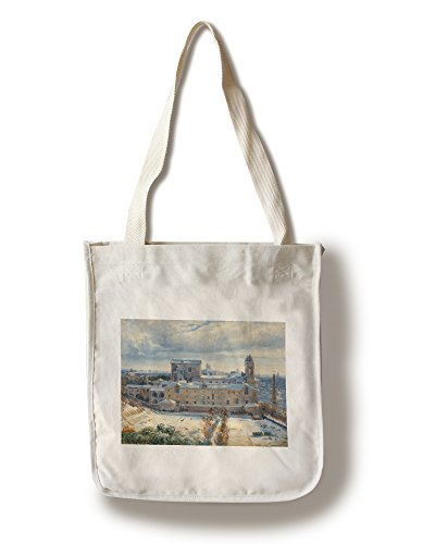 - Santa Trinita dei Monti in The Snow - Masterpiece Classic - Artist: Andre Giroux c. 1825 (100% Cotton Tote Bag - Reusable)