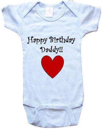 Happy Birthday Daddy     Bigboymusic Baby Designs   Blue Baby One Piece Bodysuit   Size Large  18M