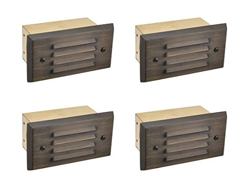MarsLG BRS1 ETL-Listed Solid Brass Low Voltage Landscape Extra Wide Step Light with Louvered Face Plate in Antique Brass Finish and Free G4 LED Bulbs, (Package of 4), 36ST03BSx4 (Louvered Lens)