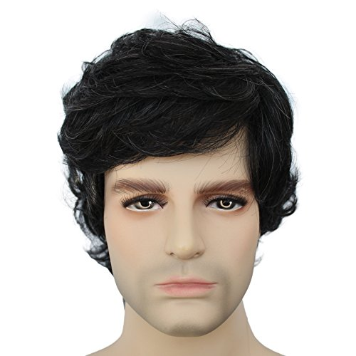 Cheap Black White Short Curly Male Synthetic Wigs for Men Natural Hair Full Party Wigs (Black Mix White) for $<!--$14.00-->