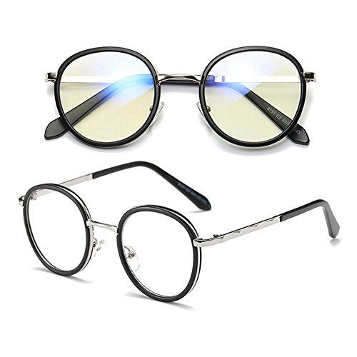 verres anti de Black sans d'objectif neutres de Armature lunettes bleus Fuyingda design métal Verres nouvelles force lentille Scrub rondes Retro en qZRCRvz