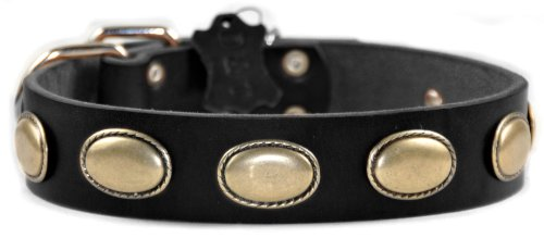"""Dean and Tyler """"RETRO RULZ"""", Leather Dog Collar with Brass Oval Hardware – Brown – Size 18-Inch by 1-1/2-Inch – Fits Neck 16-Inch to 20-Inch, My Pet Supplies"""