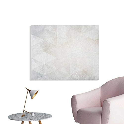 Anzhutwelve Grey and White Photographic Wallpaper Polygon Art Stylized Geometrical Forms Contemporary Art Inspired Design Poster Print Pale Grey White W48 xL32