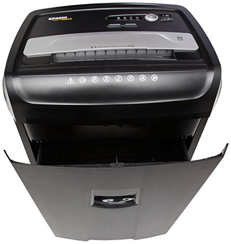 AmazonBasics 24-Sheet Cross-Cut Paper, CD and Credit Card Home Office Shredder with Pullout Basket