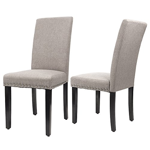 Furmax Dining Chairs Urban Style Fabric Parson Chair Side Chair With Solid Wood Legs Set of 2 (Taupe) (Upholstered Side Chairs)