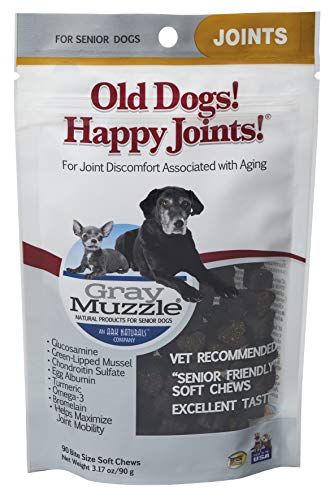 Ark Naturals Gray Muzzle Old Dogs! Happy Joints! Dog Chews, Vet Recommended for Senior Dogs, Alleviates Joint Discomfort and Supports Mobility with Glucosamine, Chondroitin and Turmeric, 90 ct