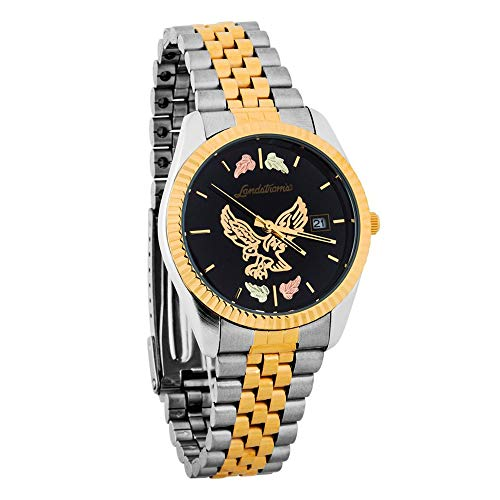 Landstroms G LMWB531 Black Hills Gold Mens Eagle Watch with Black Dial