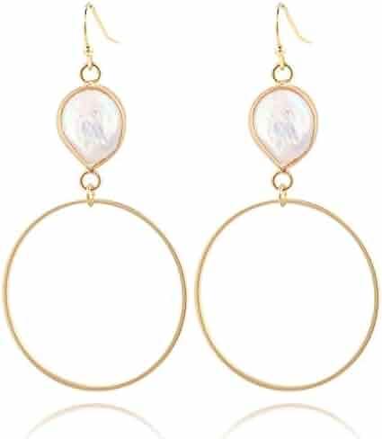 f32e07e8f COZLANE 14K Gold Natural Freshwater Pearl Jewelry Set Single Pearl Necklace/ Bracelet/Earrings for