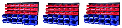MaxWorks 80790 30-Bin Wall Mount Parts Rack/Storage for your Nuts, Bolts, Screws, Nails, Beads, Buttons, Other Small Parts (3-Pack)