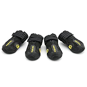 GZMAY Water Resistant Dog Shoes Waterproof Dog Boots with Reflective Velcro Rugged Anti-Slip Sole 4 Pcs Black (Size 6)