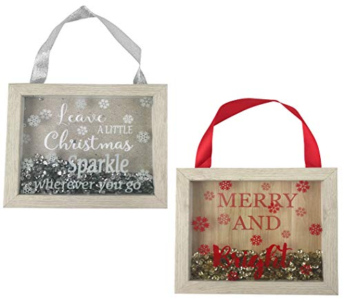- Christmas Holiday Hanging Wooden Sign Shadow Box Sequin Decoration - Leave a Little Christmas Sparkle Wherever You Go & Merry and Bright - (5in x 6in) Set of 2