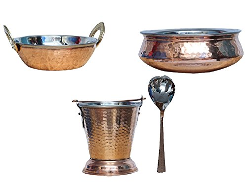 (Handmade Hammered Copper Steel/Copper Gravy Bucket/Balti 1 Pcs with 1 Handi Bowl and 1 kadai & 1 Serving Spoon (Total 4 Pcs Set) For Serving Dishes pc-08 )