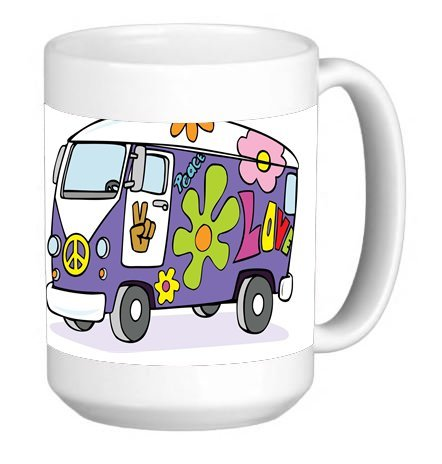 Groovy VW Bus Flower Power 15 Ounce Ceramic Coffee Mug Tea Cup