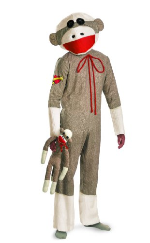Monkey Costume Sock (Sock Monkey Adult Costume, XL)