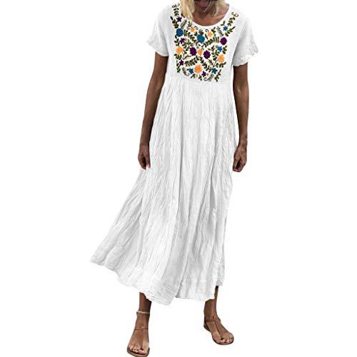 Women Vintage Maxi Sleeveless O Neck Short Sleeve Plus Size Bohemian Print Plaid Long Dress ()
