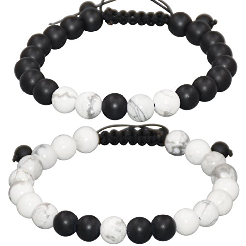 Massive Beads Distance Relationship Bracelet for Lover-2pcs Matte Onyx & White Howlite Stone 8mm Beads with Jewelry Box