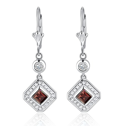 Sterling Silver Square Cut Genuine Aquamarine, Garnet, Blue Topaz or Peridot & White Topaz Leverback Drop Earrings (garnet) -