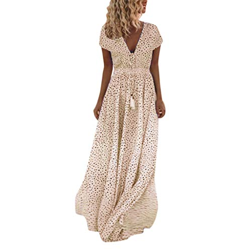 TIFENNY Maxi Dress for Women Summer Short Sleeve Dot Print Tassels V Neck Long Dress Beach Dress Orange ()