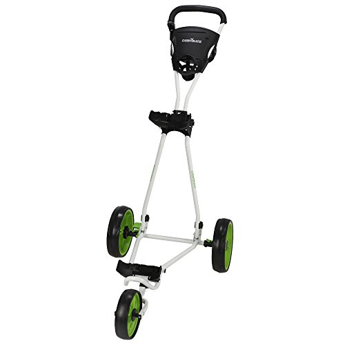 Caddymatic Golf Continental 3 Wheel Folding Golf Push/Pull Cart White/Green by Caddymatic (Image #1)