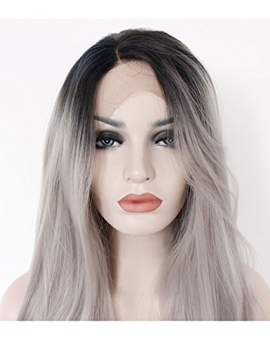 Kryssma Ombre Gray 2 Tones Synthetic Lace Front Wig Dark Roots Long Natural Straight Silver Grey Replacement Hair Wigs For Women Heat Resistant Fiber Hair Half Hand Tied 22 Inches